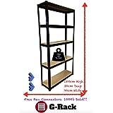 180cm x 90cm x 30cm, negro 5Tier (175kg por estante), 875kg capacidad estantería de garaje cobertizo de almacenamiento unidades, 5años de garantía