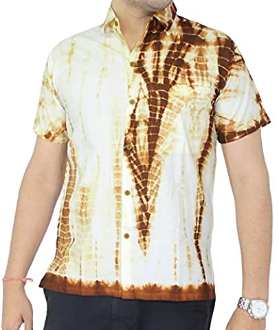 Summer Day Relaxed Fit Cruise Tropical Sports Dress Shirts Tie Dye Mustard M Gift Spring Summer
