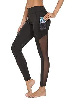 eae7a310bdbf21 FITTOO Modische Mesh Leggings Fitness Hosen Gaze Yoga Pants Hoher Bund  Joggen Leggings Sportbekleidung Workout Schwarz