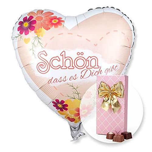 Helium Ballon Schön, dass es dich gibt! und Belgische Pralinen-Auslese (Schokoladen-orangen-trüffel)