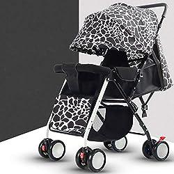 UN Cochecito De Bebé Ligero Puede Sentarse Reclinable Paraguas Plegable Carro para Niños Cuatro Ruedas Toldo Ajuste De Tres Velocidades,Leopardprint