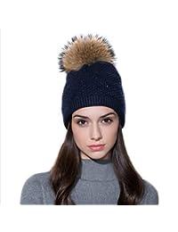 Ferand Berretto invernale per donne in Pelliccia di Procione Cappello Pon  Pon con Cristalli af34d056118f
