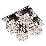 Asvert LED Kristall Deckenleuchte Moderne Unterputz Kristall Decke Kronleuchter Leuchte Moderne Edelstahl Wohnzimmer Schlafzimmer Flur Kronleuchter mit 4 Platz Lichter