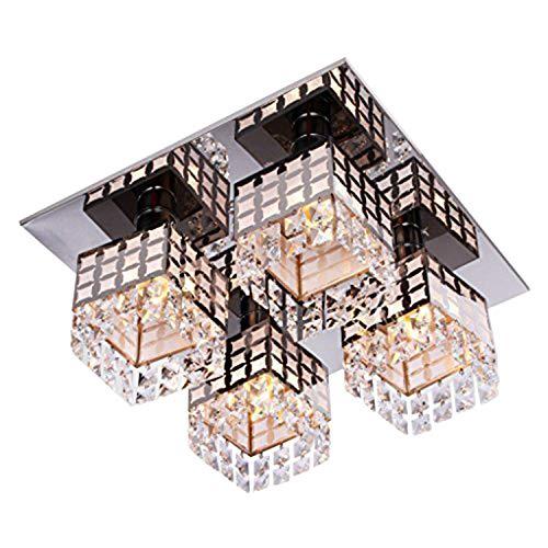 Asvert Plafonnier en Cristal LED Moderne Lustre en Acier Inoxydable 4 Lumière Carré Eclairage Elégante pour Salon Restaurant Hotêl Bar 42 x 42 x 20 cm