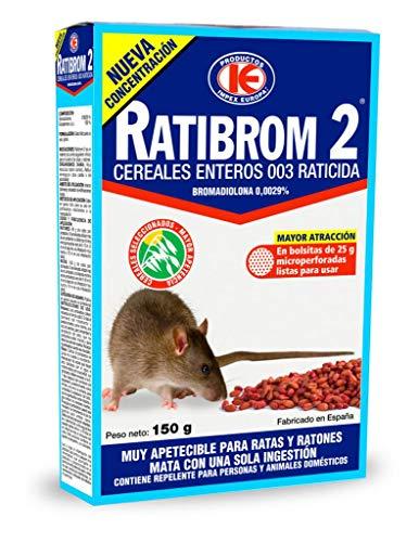 IMPEX EUROPA Cebo en Grano para Matar Ratones y Ratas RATIBROM 2 Cereales Enteros - Veneno con Bromadiolona - Estuche 150 gr