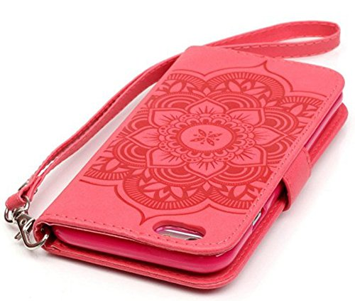 Apple iPhone 6Plus Custodia in pelle Flip Wallet Cover Case, Nnopbeclik Folio PU Leather Case Fiore Stampa campanula diamante bling strass Bling Diamante Custodia a Libro Cassa vera strass di alta qu Rot