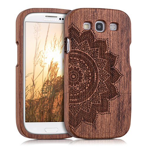 kwmobile Hülle für Samsung Galaxy S3 i9300/S3 Neo i9301 - Rosenholz Case Handy Schutzhülle - Hardcase Cover Halbblume Design Dunkelbraun