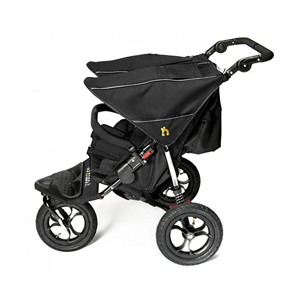 Out 'N' About Nipper Double V4 - Raven Black  LATEST V4 MODEL Twin independant sun canopy's & peek-a-boo window & auto-locking fold NARROW 72cm WIDTH! All-terrain 3-Wheeler pushchair, suitable for use from Birth to 4 years (approx) Independent Multi-position adjustable backrest, including lie flat with 5-Point Safety Harness 3