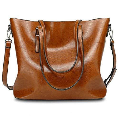 Yaluxe Damen Urban Stil Leder Arbeit Handtasche Shopper gross Capacity Crossbody Schultertasche braun
