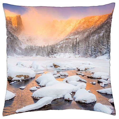 Winter-sunset - Throw Pillow Cover Case (18