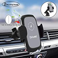 Drivaid Wireless Car Charger Mount, 3-in-1 10W Fast Charger Phone Holder with Aromatherapy, Compatible with iPhone Samsung Huawei and All Qi-enabled Mobile Phones (Bonus 2 Aromatherapy strips)