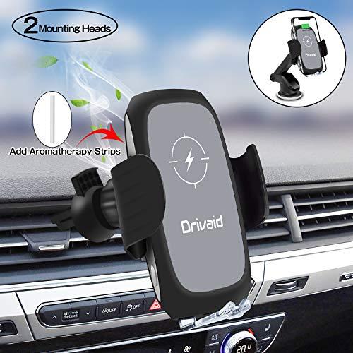 Drivaid Caricatore Wireless Auto, 10W Supporto Auto Caricatore Wireless con Bonus 2 Strisce di Aromaterapia, Compatibile con iPhone Samsung Huawei e Tutti i Tipi di Telefoni Cellulari Abilitati per Q