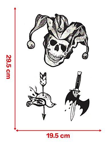 CoolChange temporärere Tattoo 3D Joker Aufkleber aus Suicide S, 5 Bögen