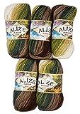 Alize Burcum Batik - 5 ovillos de lana de 100 g, color marrón, beige, crema, verde oliva con...