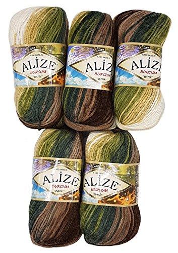 5 x 100 Gramm Alize Burcum Batik Wolle mehrfarbig mit Farbverlauf, 500 Gramm Strickwolle (braun beige creme u.a. 1893)