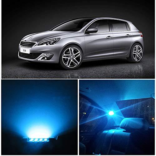 Wljh 8 pcs T10 CANBUS Intérieur lumière LED Package kit 194 168 dôme carte ampoule de lampe, Bleu glacier