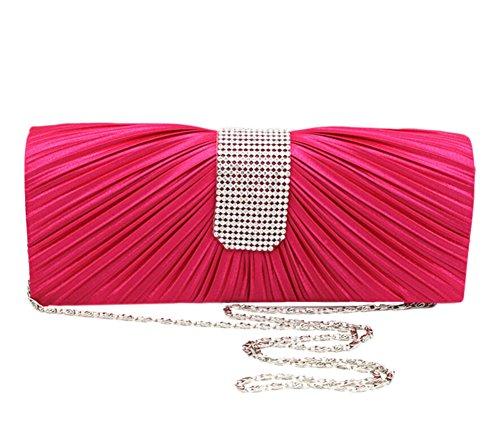 Pochette da Sera Strass Festa di Nozze Borse del Raccoglitore delle Donne Complicata rosa