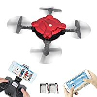 RC Pocket Drone With Fpv Wifi Hd Camera + Bonus Battery- Flexible Foldable Quadcopter With Altitude Hold Throwing Fly 3D Flips Hover 4 Channel 6 Axis Gyro Gravity App Remote Controller Rtf Helicopter (Pocket drone-R) from LAMASTON