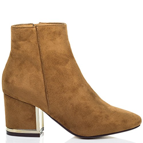 SPYLOVEBUY HALO Femmes à Talon Bloc Bottines Chaussures Tan - Simili Daim