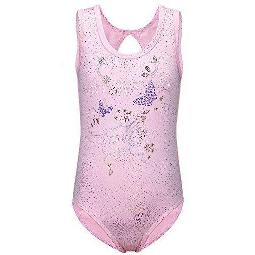 Enfant Filles sans Manches Ballet Dancewear Costume Gymnastique Justaucorps Vêtements (rose, 100(2 3 Ans))