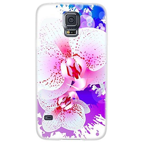 OOH!COLOR 025618_aca014 Tier mit Muster weiche Silikon TPU Bumper-Hülle für Samsung Galaxy S5 G900F klar NFL002