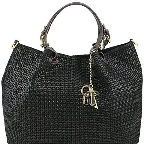 Tuscany Leather - TL KeyLuck - Sac shopping en cuir imprimé tressé Noir - TL141150/2