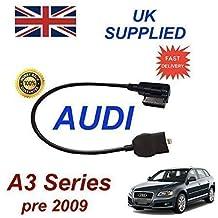 AUDI A3 Series Pre MY 2009 generación 2 AMI MMI cable de Audio para iPhone 5, 5c 5s 6 y 6 Plus funciona con 8 pin conexión y AUX 3,5 mm enchufe por cable cablesnthings