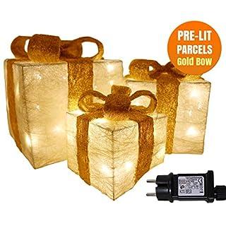 Weihnachtsdekoration Verkauf Beleuchtet Weihnachtspakete Geschenkbox Beleuchtet Präsentiert Ornamente Geschenkset mit 3 Creme Jute Glitter Pakete Goldbogen 55 LEDs Netzbetriebene Baumdekoration