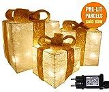 Pacco regalo luminoso, SET 3 Pacchi Regalo Luci, Confezione Regalo Glitterata, Addobbi pacchi regalo luminosi, Regali di Natale, Luci natalizie, Scatola Regalo con Nastro Oro, Illuminato con 55 LED
