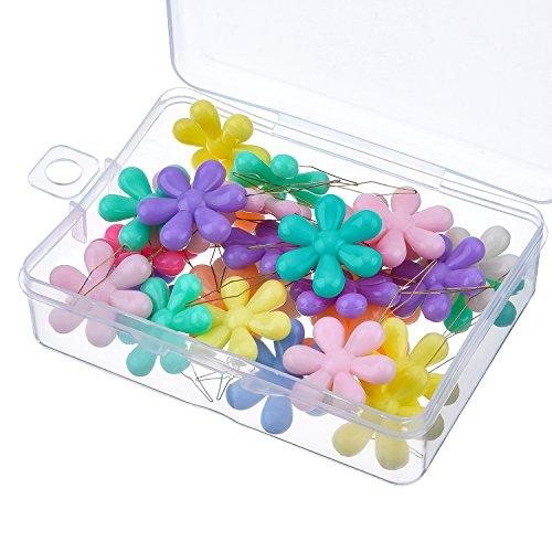 30 pezzi infila aghi da cucito filo inserimento plastica fiore capo con scatola trasparente, multicolore