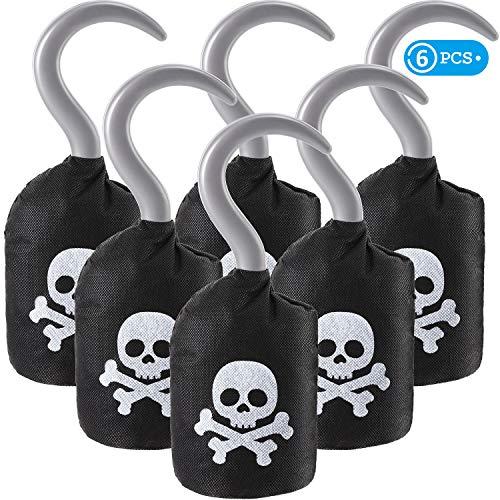 Party Kostüm Thema Piraten - Boao Kapitän Piraten Haken Vlies Piraten Haken Kostüm Zubehör Stütze für Halloween Party Piraten Thema Party Gefallen Zubehör(6 Packungen)