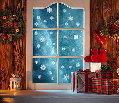 Sayala 270 Stück Fensterbild Wunderschöne Schneeflocken - 10Sheet weiße Schneeflocken Fenster Aufkleber - Weihnachten Fensterdeko elektrostatischer Aufkleber Winter