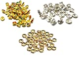 #9: Goelx Rhinestone Spacers Golden, Silver & Multicolour Combo for Jewellery Designing & Craft Work - 8mm !!