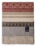 Mitos Natural Elegance - Sofadecke Costa, Dicke Wolldecke Grau Beige Braun Rot mit Alpaka Wolle Schurwolle Warm Flauschig Bunt Couch (Grau Rot)