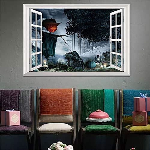 Tapeten 3D Gefälschte Fenster Halloween Kürbis Licht Wandtattoo Geist Wohnzimmer Wandbild Schlafzimmer Dreidimensionale Aufkleber Kunstdekor