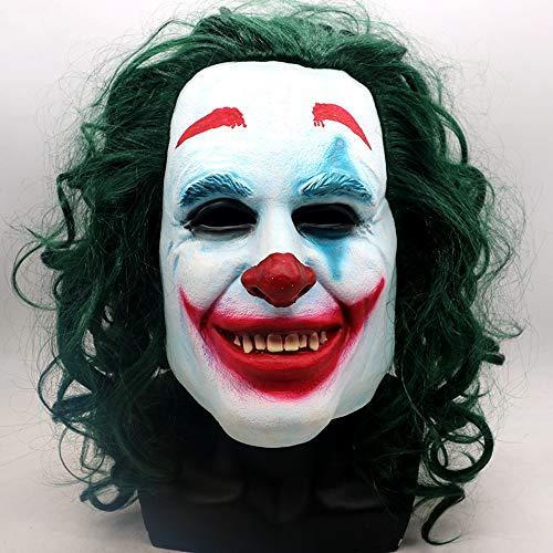 Kostüm Halloween Tourist - ZMDHL Halloween Latex Clown Maske mit Erwachsenen Haaren, Halloween Kostüm Party Requisiten Maske