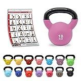 POWRX Kettlebell Neopren 2-26 kg inkl. Workout I Kugelhantel in versch. Farben und Gewichten I Bodenschonende Schwunghantel (10 kg (Lila))