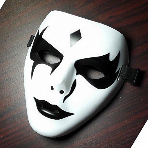 Hip-hop V-wort Todes-ghost Tanz Dummy Gesicht Wei? Horror Hand Bemalt M?nnlichen und Weiblichen Requisiten Dekoriert Halloween Maske (Kürbis Gesicht Luftballons Leuchten)