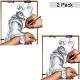 Großes Holz Zeichenbrett (2er Set) - Holz Sketch Board - Klemmbrett mit langem elastischem Band und Metallklemmen 66cm x H58cm - Extrafeste Künstler Palette zum Malen, Zeichnen, Sketching