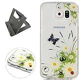 Keyye Samsung Galaxy S6 Hülle, Transparent Weiche Silikon Schutzhüll Kratzfest Gummi Weich Kristal TPU Schutzhülle Skin Shell mit bunten Muster Design-schmetterling daisy