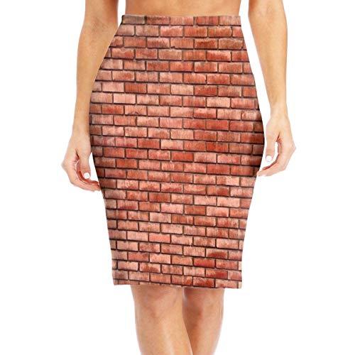 mfsore Red Brick Wall Women's Elegant High Waist Bodycon Pencil Skirts Printed Party Skirt,L -
