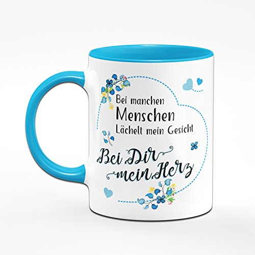 Tasse Bei manchen Menschen Lächelt Mein Gesicht - Bei Dir Mein Herz - Kaffeetasse Blau - Geschenk für Freund - Geburtstagsgeschenk für Freund - Tasse für Freund - Geschenke für Männer - 2