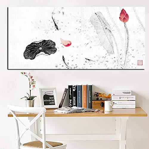 RQMQRL Hd Druck Große Traditionelle Chinesische Kalligraphie Malerei Koi Fisch Lotus Auf Leinwand Wandkunst Dekor Bild Für Wohnzimmer Sofa (Bilder Sofa)