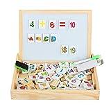 discoball Lernspielzeug Holz Spielzeug Magnetic Magnetisches Puzzle Holzbrett Staffelei Tafel Wooden Double Side Game Toy Set für Kinder Jungen Mädchen ab 3 Jahren Zeichnung Nummern