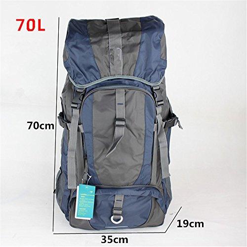Zaino di outdoor zaino borsa a tracolla alpinismo grande capacità zaino escursionismo zaino da viaggio panno Oxford impermeabile (60L), Orange (80L) Dark blue (70L)