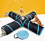 JIN CAN Cat Tunnel Toy, Upgraded Collapsible 4 Way Pet Play Tunnel Tube Storage Bag & Cat Toys Feather Wand, Dogs, Rabbits, Guinea Pig, Indoor/Outdoor Use (4 Way Tunnel)