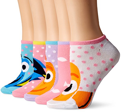 Disney Women's Finding Dory 5-Pack No Show Socks, Asst, 9-11