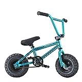 AnaellePandamoto Mini Vélo BMX Freestyle avec 3 Pièces Manivelle de 10 Pouce, Selle avec Hauteur Réglable pour Adulte, Taille: 79*73*69cm, Poids: 11kg (Turquoise)