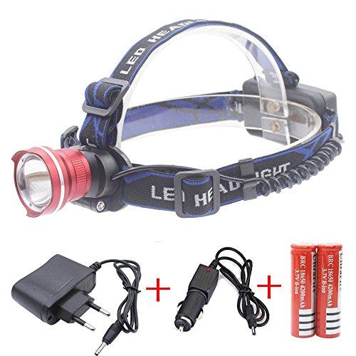 Preisvergleich Produktbild Genwiss 3000 Lumen Kopflampe CREE XML XM-T6 LED 3 Modus wasserdichter Summen Fokus Frontleuchte LED Stirnlampe T6 LED umfassen 4200mAh Akku und Ladegerät Camping Biking Jagen Fischen Reiten (rot)
