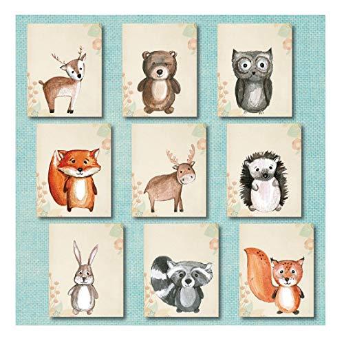 Woodland Nursery Decor Wandbild, ohne Rahmen, Waldwald, Tierdrucke, hilft auch Kinderzimmerbettwäsche Plüschtiere, Abenteuer-Kreaturen, hilft Waldtiere, Dekorations-Set für Kinderzimmer Modern 5x7